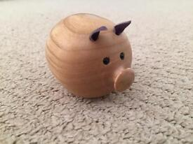 COLLECTABLE REAL WOODEN PIG ORNAMENT