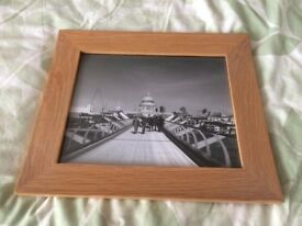 "Framed 10x8"" black and white photo print Millennium Bridge London. A great Christmas present idea."