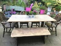 Solid oak vintage farmhouse dining table 4 chairs and bench
