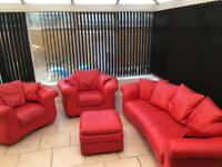 Sofas, 3 piece suite with footstool in red