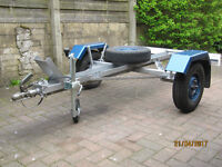 Motorcycle Trailer for sale. Takes single bike, equiped with jockey wheel and spare road wheel.