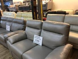 Leather settee sofa discount clearance sale