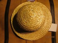 STRAW BOATER TYPE HAT GREAT FOR SCHOOL GIRL FANCY DRESS BRAND NEW 2 AVAILABLE