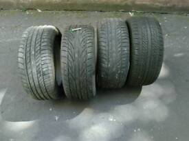 Four part worn tyres. 225/50 X 16.