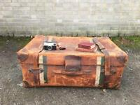 EDWARDIAN TRUNK FREE DELIVERY LDN STORAGE LEATHER CHEST