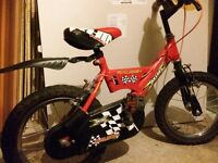 Raleigh bike for sale. age 4 - 6 years with stabeisers. Good working condition .