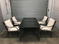 FREE DELIVERY BLACK METAL GARDEN TABLE & 4 CHAIRS FURNITURE SET GOOD CONDITION