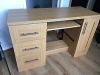 Wooden Desk with Drawers and Cupboard