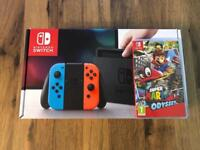 Brand New Nintendo Switch 32GB Neon + Mario Odyssey Game - WS14 Area