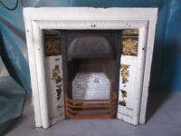 Victorian Cast Iron Fireplace with Tiled Insert & Slate Surround and Mantle c.1890s