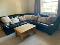 Dark Brown Leather Corner Sofa - for collection from Beyton, Bury St Edmunds