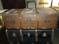 Delightful Pair of Large Vintage Steamer Shipping Trunks Wooden Banded Coffee Tables