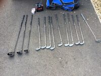 Adult golf set: golf clubs, bag, collapsing trolley, balls and tees!