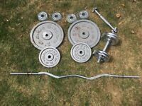 Set of Metal free weights 1.25kg / 2.75kg / 5 kg / 15kg / Dumbbells / Curl Bar