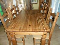 Antique Mexican Pine Table and 6 Chairs/ beautiful and solid. Must sell due to moving, bargain price