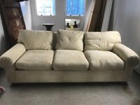 Sofa - FREE for collection - Cream Suede 235 cm wide x 100 cm deep