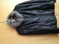 Danier Leather and Fur Bomber Style Jacket
