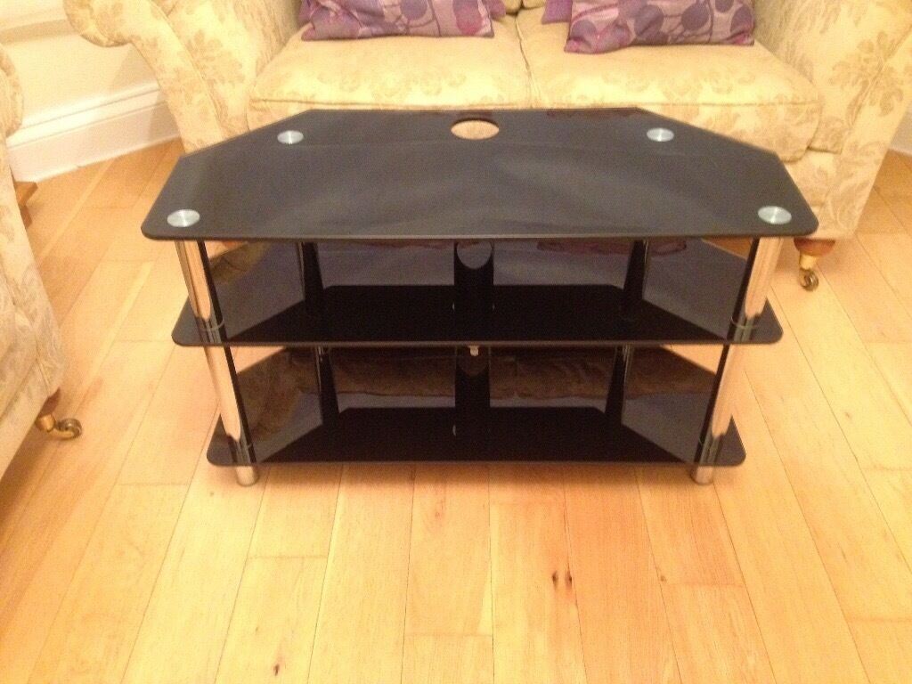 Modern black glass TV stands