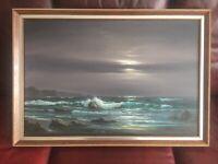 Stunning Peter Cosslett Night/Storm Scene - Large 30 X 20 Canvas - Retro Frame