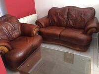 Faux leather 2 seater and armchair, tobacco colour, traditional style