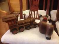 wooden animals statue plus a train only £20