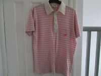 MEN'S PINK STRIPED DESIGNER DIESEL POLO TOP - SIZE MEDIUM
