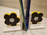 Yellow Flower Kids Wood Bookends