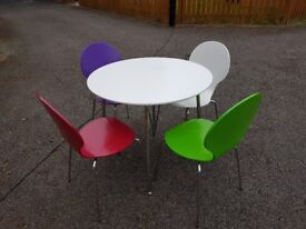 White & Chrome Round Table & 4 Chairs FREE DELIVERY 463