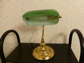 Attractive lamp in gold/brass colour with green shade