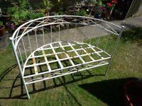 Contemporary White Metal Garden Bench