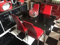 Red Italian leather sofa with extra chair all reclining very expensive sofa new!kitchen table!!!