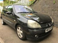 Renault Clio 2003 1.2 petrol Black 3dr - Breaking For Spares