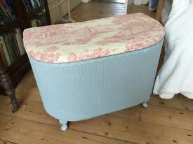 *sold pending collection *Lloyd loom upcycled ottoman French shabby chic