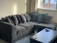 Grey cord corner sofa - L sofa