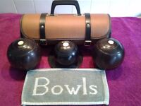 Set of wooden crown green bowls-Size 2.4-standard weight-In good used condition-With Good Bowls Bag-