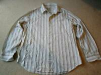 Rocha John Rocha shirt, off-white with green and red stripes, size large