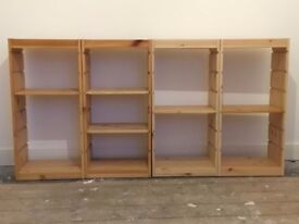 4 X IKEA TROFAST WOODEN SHELVING UNITS WITH SHELVES