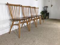 Original Ercol Vintage Elm Beech Dining Kitchen Set Of 4 Chairs Blonde Retro 449 mid Century