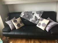 Black Faux Leather Sofabed