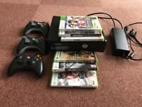 XBox 360s console, 3 controllers and 6 games