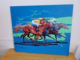 Striking superb genuine original painting 'Racing Opposition' by Louise Mizen