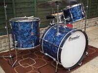 Vintage Premier drum kith Premier 2001 snare drum and vintage cymbals set !