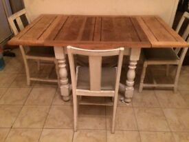 beautiful vintage dining table and four chairs, restored, shabby chic style