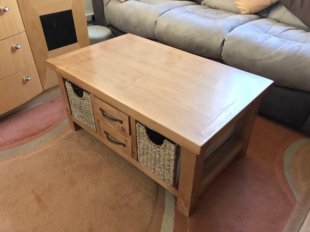 brand new pine south hero coffee table with magazine rack storage