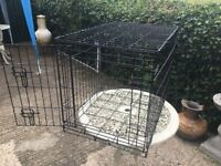 Dog or other animal cage. Black coated wire. door at one end.