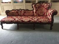 CHAISE LONGUE SOFA ,RAISED CUT VELVET FABRIC .