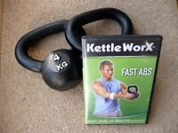 Kettlebells plus DVD a 4kg pair to get that beach fit look - ladies and gents.