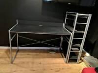 Black Computer desk with shelves unit
