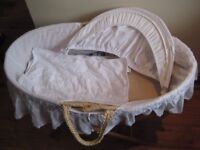 Mothercare Moses basket with hood, stand and blanket