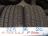 MATCHING SET 265 35 20 PIRELLI P-ZEROS 7MM TREAD £100 PAIR SUP & FITD £180 SET (loads more av}TXT S